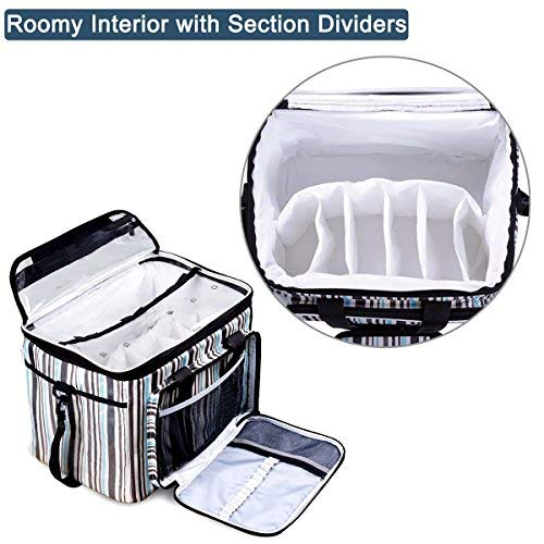 BONTIME Knitting Bag - High Capacity Striped Yarn Storage Tote Bag,Project Bags with Roomy Interior,Great for Organizing Everything You Need for Each of Projects,Large by BONTIME (Image #5)