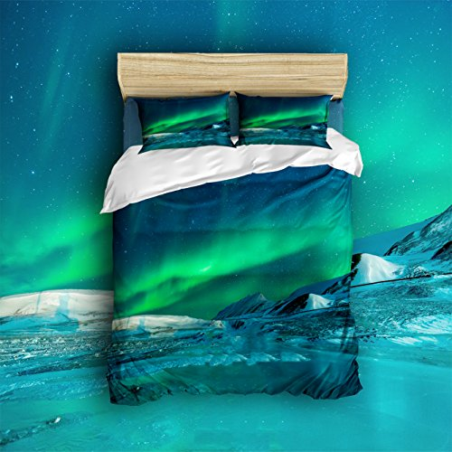 Pretty Lee Colorful Aurora Night Sky Print Comforter Set 4 Piece Bed Sheets Set (King Size) 1 Flat Sheet 1 Fitted Sheet and 2 Pillow Cases - Hotel Quality - Soft - Luxurious - Extremely Durable ()