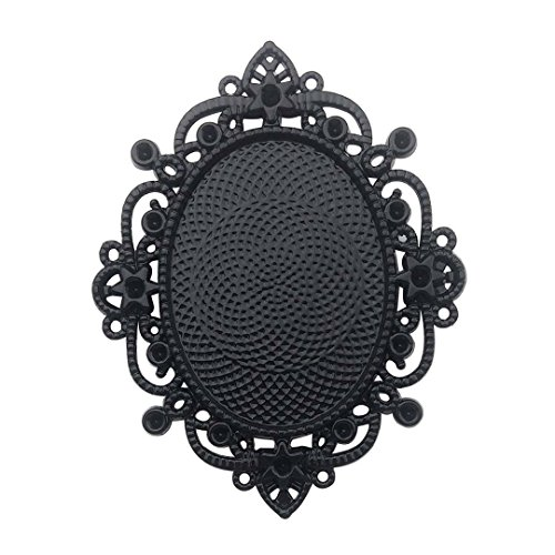 10 PCS 30x40mm Black Blank Pendant Trays, Glass Cabochons Dome Base Setting Bezel Frame Cameo Metal Alloy Charms for Jewelry Making DIY Findings (7630) ()