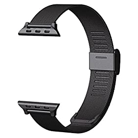 CNBEYOUNG Milanese Loop 2.0 Version Stainless Steel Bracelet Strap Replacement Band for Apple Watch Series 1 Series 2 Apple iWatch (Black-38MM)