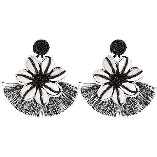 BEST LADY Tassel Earrings for Women - Statement Handmade Dangle Fringe Earrings for Women, Idea Gift for Sister, Wife and Friends (Black)