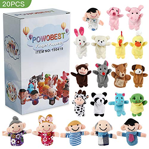 POWOBEST Finger Puppet Set (20-Piece), 6 Family Member and 14 Animal Finger Puppets Plush Toys - Great for Storytelling, Role-Playing, Teaching, Fun(Type 2)