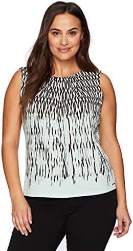 Calvin Klein Women's Plus Size Sleeveless Pleat Neck Border Cami