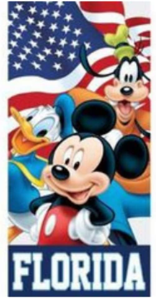 Amazon Com Flag Friends Mickey Goofy Donald Beach Towel 28 In X 58 In Home Kitchen