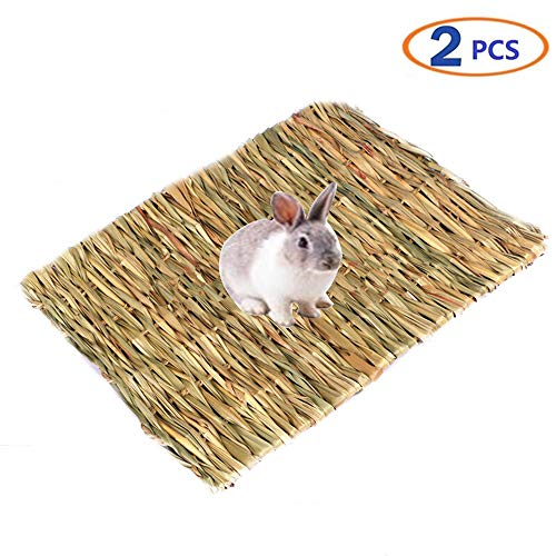 Tfwadmx Rabbit Grass Mat Natural Woven Seagrass Mat Bunny Bed Chew Mat Sleep for Rabbit Hamster Chinchillas Guinea Pigs Ferret Guinea-Pig and Small Animals 2 Pcs ()
