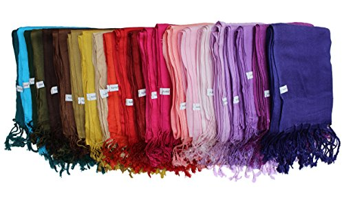 Kuldip Factory Seconds Pashmina Style Scarf Shawl Stole. Mixed Colours. (Pack of 50).