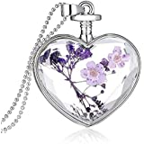 Hmlai Women Dry Flower Heart Glass Wishing Bottle Pendant Necklace Mother's Day Jewelry Gift