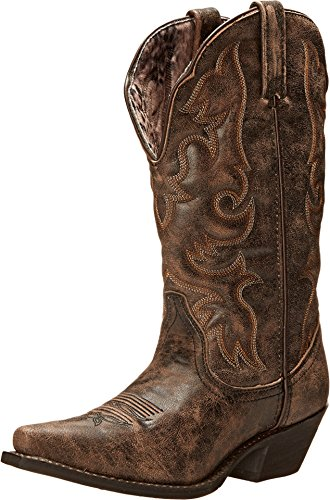 Laredo Boots Cowboy Black 12 - Laredo Womens Black/Tan Goat Leather Access 12in Snip Toe Cowboy Boots 12 M