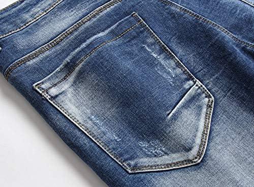518qap8cSWL. AC AITITIA Men's Biker Zipper Deco Washed Straight Fit Jeans    Product Description