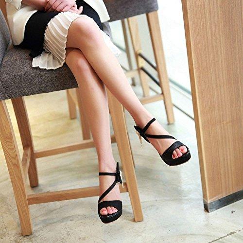 Tacón Peep Hebilla De De Boda De Banquete Tacón Zapatos Las Sandalias Aguja Novia Tiras Toe Del Del De Satén Alto Negro De Mujeres ntTY5