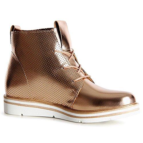 topschuhe24 1103 Damen Stiefeletten Boots Derby Rose Gold