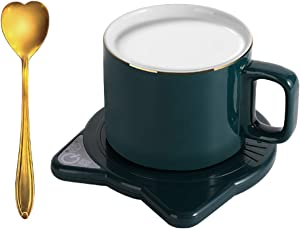 Coffee Mug warmer,Smart Electric Cup warmer with gold spoon and Auto Shut Off for Desk Beverage, Warm Up Beverages Tea Cocoa Water Milk Mug Heater for All Cups and Mugs.Keep Temperature Up to 131℉/ 55℃ best gift for St. Patrick's day(Green)(No Cup)
