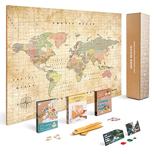 Push Pin Travel Map Kit Includes: Cork World Travel Map, World Flags, Food Stickers, for Travelers (Old School, L (17.7 x 23.6 inches)) (World Maps With Pins)