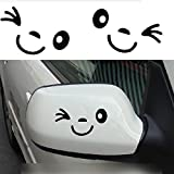 Zxuy Cute Smile Face 3D Decal Sticker for Auto Car Side Mirror L+R Rearview