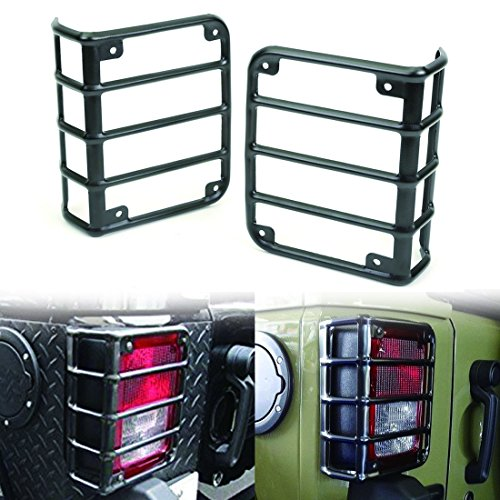 ICars Rear Euro Matte Tail Light Guards Covers For Rear Taillights 2007-2016 Jeep Wrangler JK Unlimited Accessories