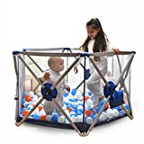 Portable Play Yards Indoor Fence With Mattress For Baby Folded Kids Activity Area Metal 6 Panel Home Adjustable Washable Playpen