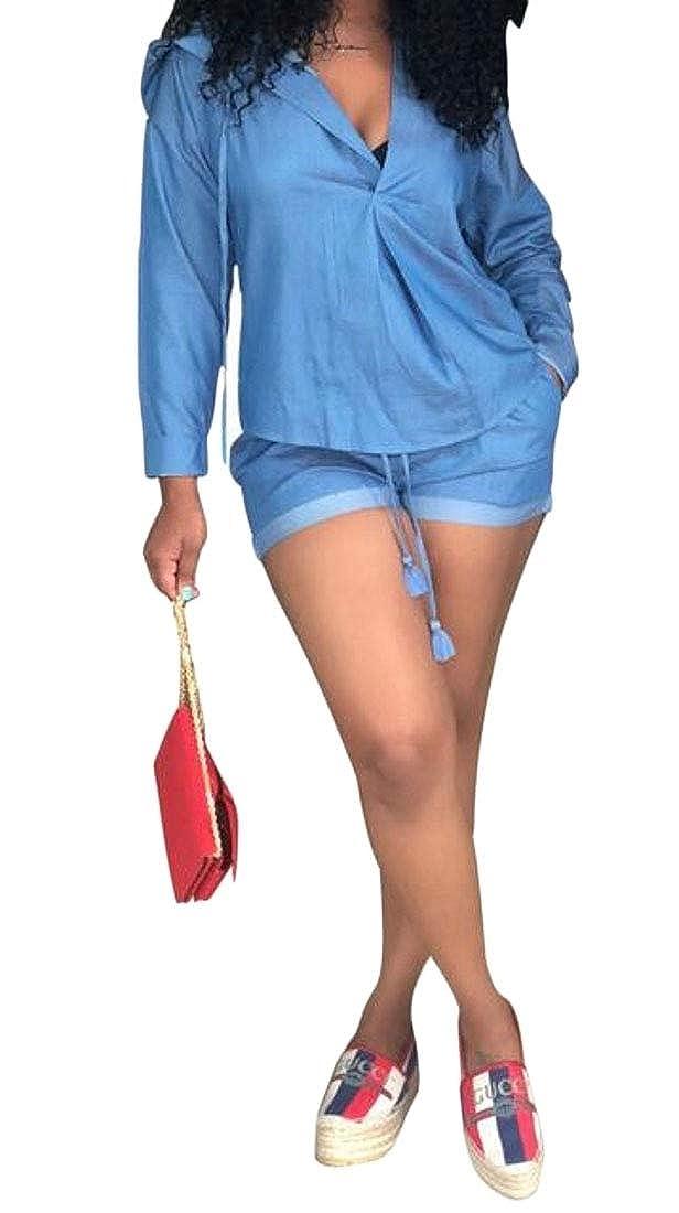 KLJR Women Loose Casual 2 Pcs Long Sleeve T-Shrit /& Bikier Shorts Short Jumpsuit Romper