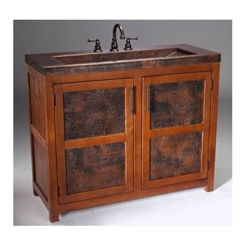 Thompson Traders VTL Country / Rustic Grande Vanity from the Legacy Collection, Cinnamon / Black Copper Cinnamon Bathroom Vanity