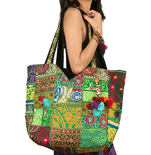 (Women Large Shoulder Bag Tote Woven Embroidered Beach Fashion Boho Hippie Unique Laptop School Everyday Casual (Green))