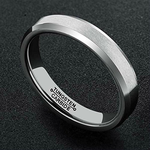 Bishilin 4mm Mens Womens Stainless Steel Wedding Bands Silver Matte Wedding Rings Size:4