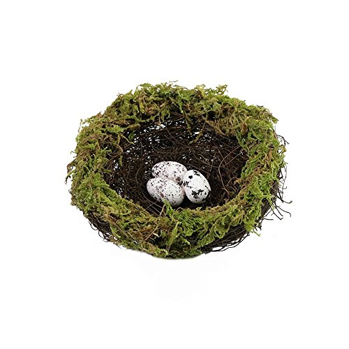 SogYupk Artificial natural spot bird egg green moss natural rattan nest crafts by SogYupk