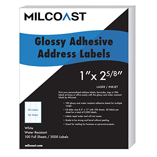 Milcoast Glossy Address Labels 30 Per Sheet 1