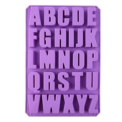 Rokoo DIY 26 Letras inglesas Molde de Silicona Jalea de Chocolate Molde de Hielo Bandeja de