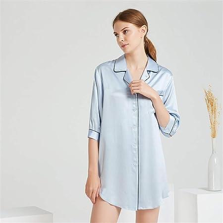 BUTTERFLYSILK Camisa de Dormir de Mujer, Pijama de Seda de Manga Corta Pijama Camisón Camisa de Dormir de Media Manga Camisa de Dormir con Botones Camisón de Dormir Ropa de Dormir,Blue,L: Amazon.es: