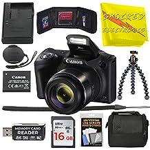 [Patrocinado] Canon Powershot SX420 es [negro] Cámara digital Wi-Fi de 20 MP con zoom 42x Incluye: batería Canon NB-11LH y cargador Canon + 9 piezas de 16 GB Deluxe Kit de accesorios con gamuza de electrónica