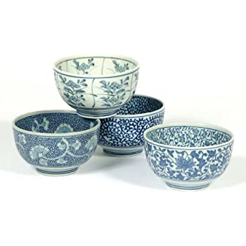 Japanese Sometsuke Bowl Set Includes 4 Bowls