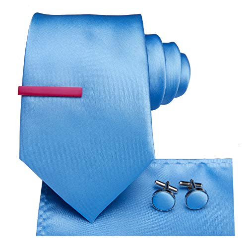 Dubulle Mens Baby Blue Ties and Pocket Square with Rose Red Skinny Tie Clip Set