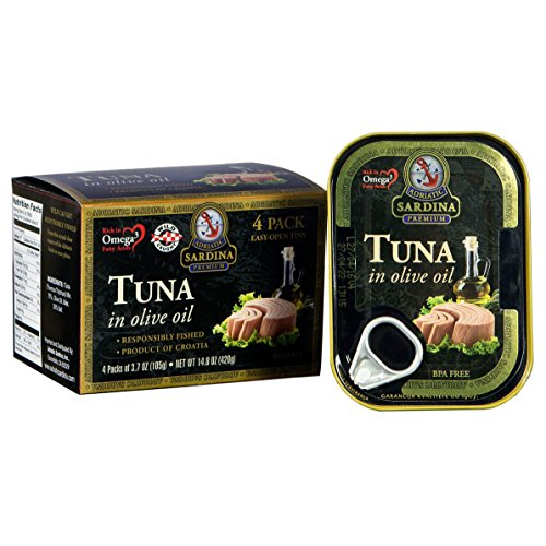 Adriatic Sardina Canned Tuna Fillets in Olive Oil, 3.7 Ounce Tin (Pack of 4) (Tuna Genova)