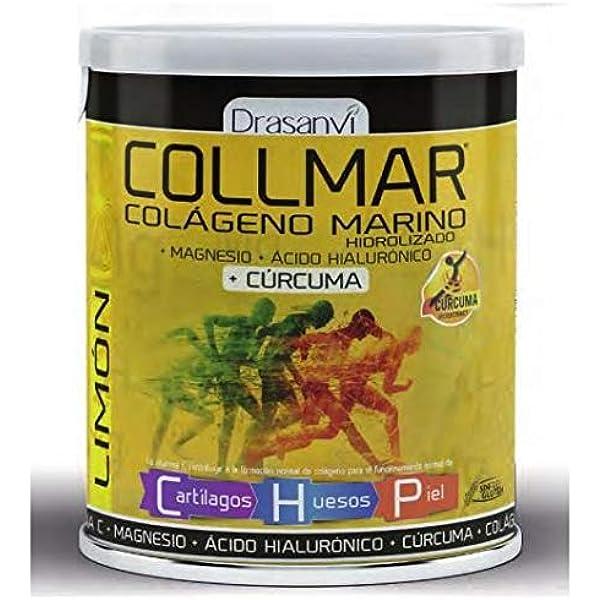 Collmar, colágeno marino hidrolizado con magnesio y ácido hialurónico + cúrcuma para cartilagos, huesos y piel 300g sabor limón: Amazon.es: Salud y cuidado personal
