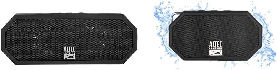 Altec Lansing IMW457-BLK Jacket H2O 2 Bluetooth Speaker, IP67 Waterproof, Black & Mini H2O - Wireless, Bluetooth, Waterproof Speaker, Floating, IP67, 6-Hour Battery, (Black)