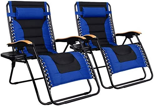 MFSTUDIO Oversized Zero Gravity Chair XL Patio Recliners Padded Folding Chair