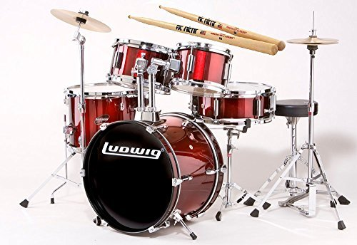 Ludwig Junior Wine Red Drum Set Bundle with Vic Firth American Classic 5A Drumsticks