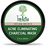TreeActiv Acne Eliminating Charcoal Mask | Natural Clay Face Mask to Detox Pores & Protect | Treat Oily Skin, Blackheads & Acne | Bentonite Clay, Baking Soda, Activated Charcoal, Essential Oils