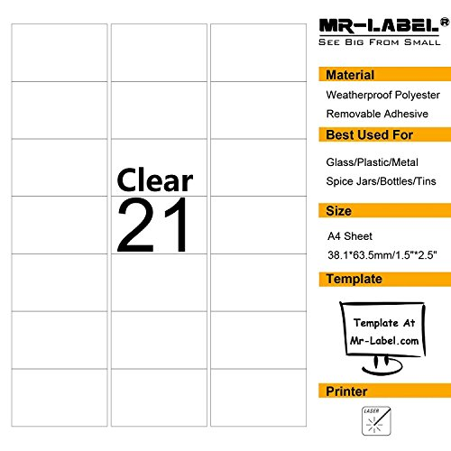 - Mr-Label Clear Removable Waterproof Adhesive Spice/Seasoning Labels - Laser Print Only (21 labels per sheet, 10 A4 sheets)