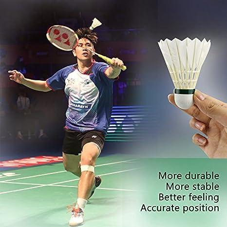 Exercice Ext/érieur Sport Entra/înement Jeux Volants de Badminton,Buluri 12 Paquets Plume dOie Badminton Volants Balles de Badminton Avec Haute /Élasticit/é et Durabilit/é pour Int/érieur