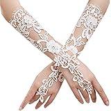 JISEN Lady Formal Banquet Party Bride Pierced Lace Wedding Gloves Gift