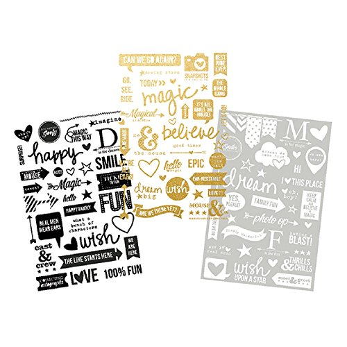 Simple Stories 3 Sheet Say Cheese II Photo Stickers, Black/White/Gold