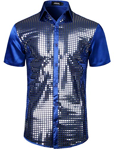 JOGAL Mens Dress Shirt Silver Sequins Short Sleeve Button Down 70s Disco Shirt Party Costume Large RoyalBlue -