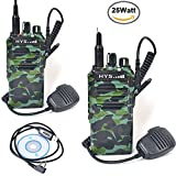 HYS Long Talk Range Two-Way Radio Transceiver UHF 400-480 MHz 25W High Power Walkie Talkie with Remote Speakers Programming Cable (2 Packs Camouflage)