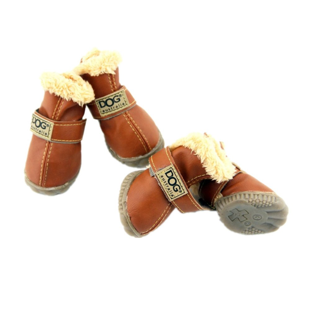 4pcs Pet Dog Winter Snow Rain Boots Shoes Puppy Thick Footwear For Teddy Yorkshire Dachshund Husky (S, Brown)