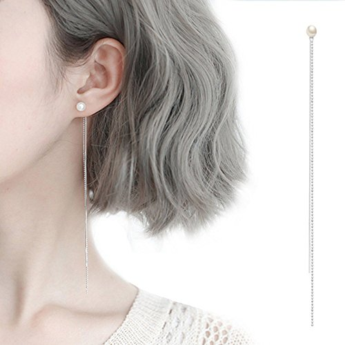- A&C Fashion Korean Version Chic Bead Shaped Ear Line for Women. Unique Handmade Earrings Jewelry for Girl. (Silver Color)