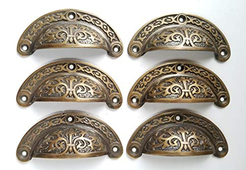 (6 Antique Victorian Style Vintage Brass Apothecary bin Pull Handles 3 7/16