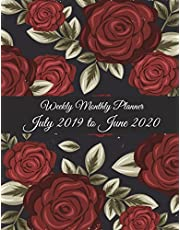 """Weekly Monthly Planner July 2019 to June 2020: Red Rose Flowers, Calendar Book July 2019-June 2020 Weekly/Monthly/Yearly Calendar Journal, Large 8.5"""" x 11"""" 365 Daily journal Planner, 12 Months July-June Calendar, Agenda Planner, Calendar Schedule Organizer Journal Notebook"""