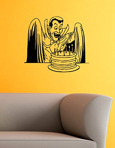Count Dracula Vinyl Wall Decals Cloak Cake With Candles Halloween Horror Decal Sticker Vinyl Murals Decors IL0542