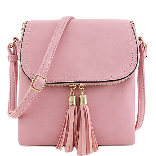 Tassel Accent - Flap Top Double Compartment Crossbody Bag with Tassel Accent (Pink)