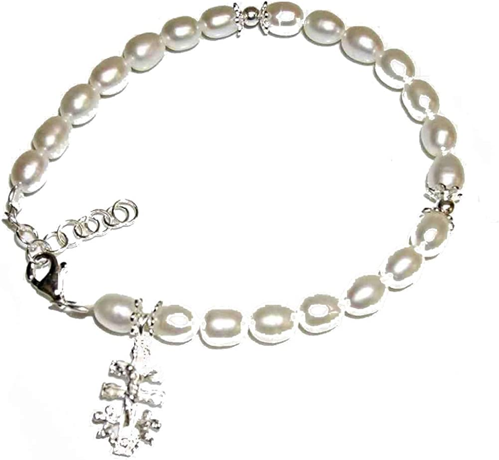 Pulsera de Perlas Cultivadas y Cruz de Caravaca Plata de Ley. Longitud de 16,5 a 19 cm